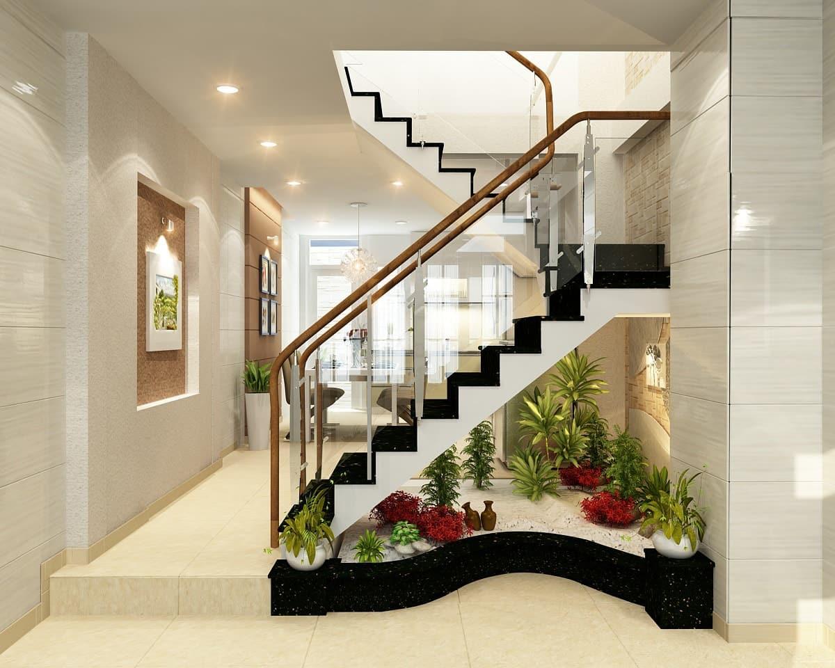 Tiểu cảnh cầu thang đơn giản