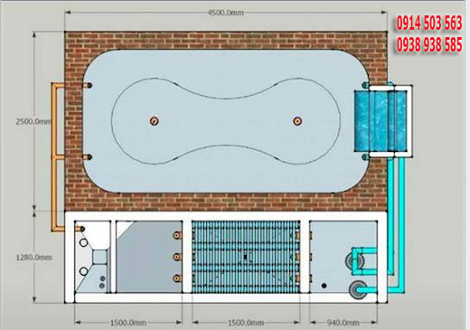 sơ đồ hệ thống lọc hồ cá koi